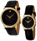 BOX SET Movado Museum Wrist Black Leather Watch for Men or Women 2100005 2100006