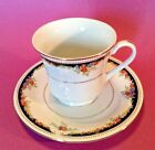 Lynns Tea Cup And Saucer - Black And White With Tiny Flowers And Gilding - China