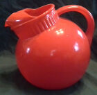 Vintage Orange/Red Anchor Hocking Tilt Ball Pitcher w/Ice Lip 7-1/2