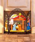 Decorative Fireplace Screen Folding Metal Nativity Scene Indoor Hearth Accent