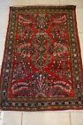 RUG/CARPET; DEEP ROSE WITH GEOMETRIC PATTERNS; 50 IN. X 31 1/2 IN.; FROM 1960s