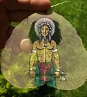 Antique INCREDIBLE Native American Indian Chief Hand Painted on a Large OLD Leaf
