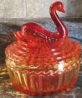VINTAGE JEANNETTE GLASS AMBERINA RED ORANGE SWAN POWDER DISH LIPSTICK HOLDER