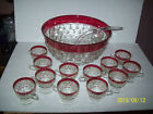 Kings Crown  Diamond Point Ruby Red Flash Punch Bowl w/ 12 cups and Ladle