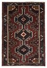Semi-Antique Black and Red Persian Fine Baluch Oriental Area Rug 3' x 5'