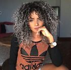 USA SHIP Long Afro Curly Black Ombre Grey Hair Synthetic Hair Wigs American Wigs
