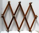 Vintage Wooden Expandable Wall Rack - White Porcelain Tips on Hooks