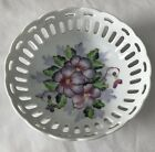 Small Floral Serving Bowl Dish With Scalloped Edge And Cut-outs On Rim
