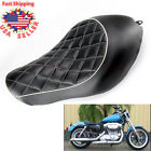 Leather Diamond Driver Solo Seat Cushion For Harley Sportster XL1200 XL883 04 15