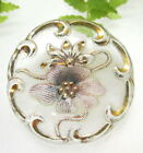 GORGEOUS ART NOUVEAU GLASS BUTTON WITH PINK FLOWER T77