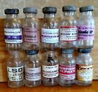 Old Hypordermic Vials Hand Crafted,Coca,Dilaudid,Mercury,Heroin,Morphine,LSD, 10