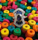 Art Deco CZ Sapphire Vintage Wire Shank Engagement Ring 925 Sterling Silver 1930