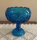 Vintage LE Smith Blue Glass Moon and Stars Compote Scalloped Rim - 7 1/2