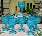 Indiana Glass Diamond Point Blue Wine Glasses Set Of Eight
