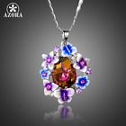New Women Jawelry pedants Flower Butterfly Stellux Crystal Oil Painting Necklace