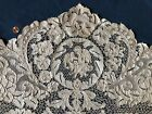 Vintage large handmade needle lace panel - winged cupid with parrot  DECOR