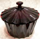 Fenton Glass 2009 Dark Ruby Facets Pattern Covered Candy Dish