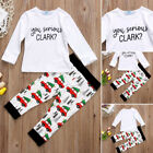 Fashion Kids Baby Boys Christmas Cars Top T-shirt Pants Leggngs Outfits Clothes