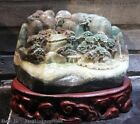 Chinese Dushan Stone Jade Mountain Water Pine Tree Pavilion Landscape Sculpture