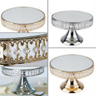 8 tall Metal CAKE STAND Crystal Beaded with Mirror Top Wedding Home Decorations