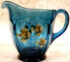 2007 Fenton Indigo Blue Handpainted Tranquil Sea 5 1 4 Pitcher