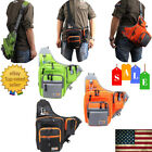 NEW Outdoor Gear Fishing Backpack Tackle Storage Bags Crossbody Box Black O6W0