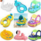 Sunshade Flamingo Baby Kids Float Seat Inflatable Swim Swimming Ring Pool Fun US