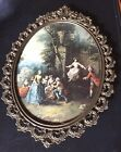 VTG.Clifford Art Studio New York Antique Oval Brass Frame-Hand Painted-ITALY