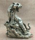 China Folk Fengshui Silver Wild Ferocious Zodiac Year Tiger King Up Hill Statue