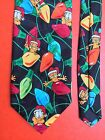 Vintage 80s Garfield Santa Christmas lights Mens tie Classic Novelty