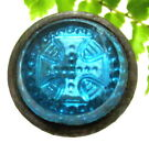 LOVELY VICTORIAN MODIFIED BUTTON AQUA GLASS WITH CROSS SET IN METAL A38