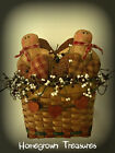 Country/Primitve Gingerbread Men and Hearts in Wall Basket Door Hanger!