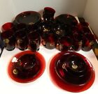 Vintage Anchor Hocking Royal Ruby Glass Service For (6) 53 Pieces New w/ Lapels