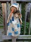 FoLk Art PrimiTive WinTer ChrisTmas GruNgy oLd QuilT SNOWMAN DOLL DecoraTion TaG