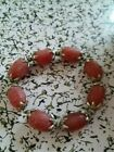 free shipping tibet silver 8x12mm red agate jade chin racelet