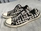 CONVERSE All Star Canvas Black White Crossword Slip On Sneakers Mens Sz 10 SC8