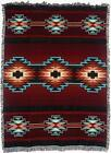 Southwest Cotton Throw Blanket Afghan Tapestry Native Burgundy Red Teal 70 x 53
