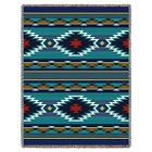 Southwest Teal Blue Red Throw Blanket Afghan Tapestry Native Geometric 70 x 53