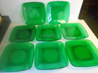 Forest Green Anchor Hocking Charm PATTERN Lot of 8 Lunch or Salad Plates 8 1/2