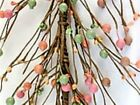 AR50 Primitive Pip Berries Holly Berry Garland in Green Peach Chocolate Color