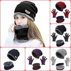 Winter Beanie Hat Scarf Gloves Touch Screen Mittens Warm Womens Snow Skull Cap