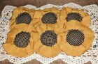 Handmade Primitive Fall Sunflower Fabric Flowers Bowl Fillers Set/6