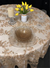 Gold Lace Table Overlay Wedding Decor Sweetheart Table Cake Table Vintage Table