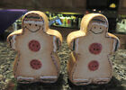 Gingerbread Boy and Girl Salt  Pepper Shakers LARGE HEART 4 X 21 2