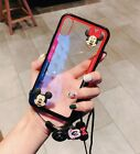 Cute Hello Kitty Mickey Minnie Doll Strap Case Cover for Samsung Note 9 8 S8 S9+