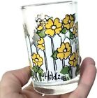 Small Retro Hildi Fire King Glass Floral White Picket Fence 70's Cup Vtg