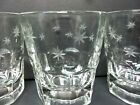 Low Ball Etched Star Burst Liquor Drinking Glasses Tumblers Mid Century Set of 4