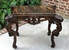 Antique French Oak Center Entry Hall Foyer Sofa End Table Granite Top ANGELS