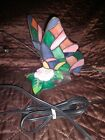 Tiffany Style Stained Glass Butterfly And Rose Table Lamp