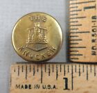 THE KNOCKER BRAND Brass Overall / Work Clothes BUTTON, Train Design, 1800s